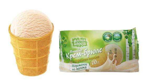 Мороженое пломбир Белая Бяроза крем-брюле бзмж 70 г